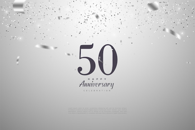 数字とシルバーリボンドロップで50周年