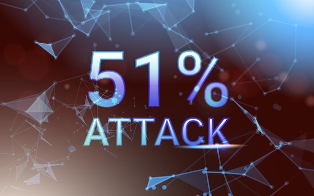 51 percent attack on blockchain stealing cryptocurrency blockchain network hacking concept horizontal vector illustration