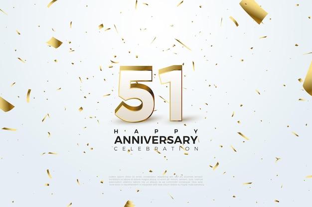 51-я годовщина с трехмерной иллюстрацией