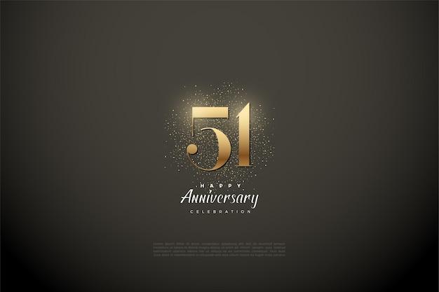 51-я годовщина с плоским числовым дизайном Premium векторы