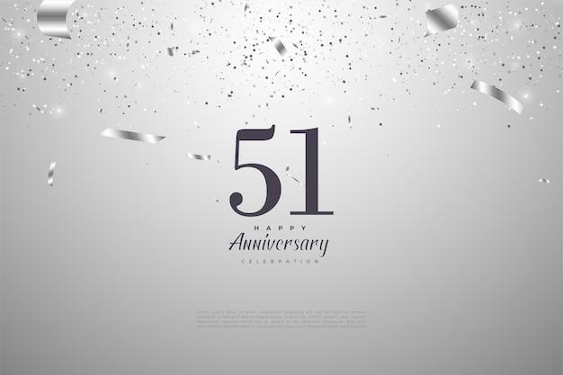 51-я годовщина с плоским числовым дизайном