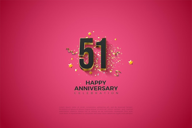 51-я годовщина с позолоченными цифрами