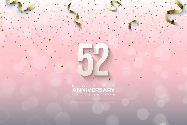 52-я годовщина с заштрихованными цифрами и каплей из ленты