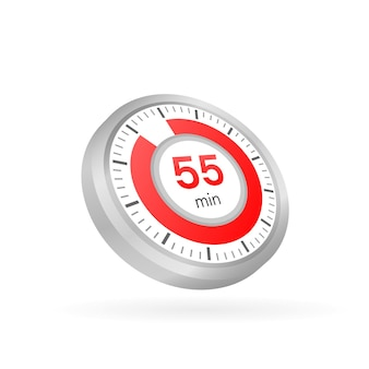 The 55 minutes, stopwatch vector icon