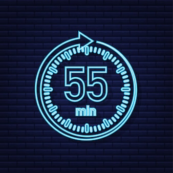 The 55 minutes stopwatch vector neon icon stopwatch icon in flat style