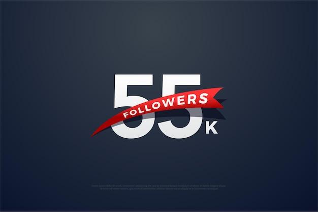 55k подписчиков с красными цифрами и фотографиями