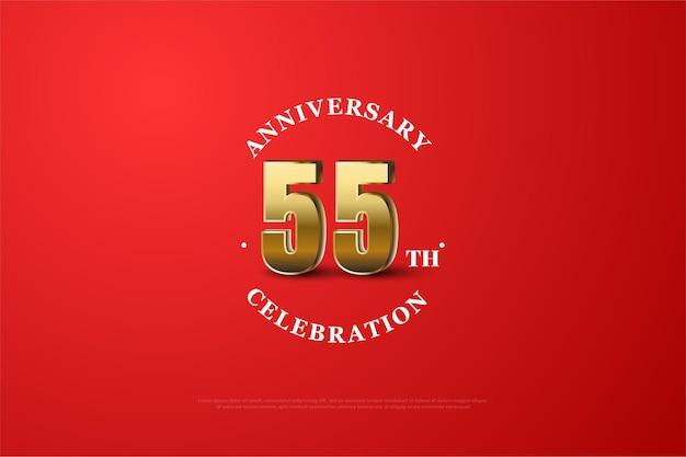 55-летие в трехмерных цифрах с жирной синей рамкой