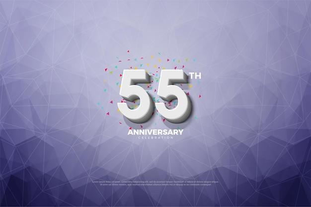 55-летие с 3d числами на фоне кристальной бумаги