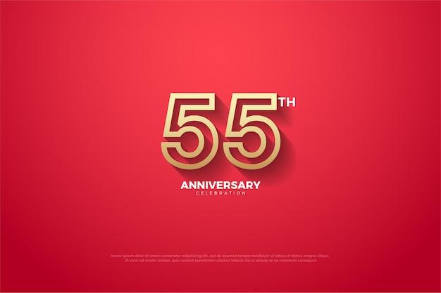 55-летие с цифрами в коричневой рамке