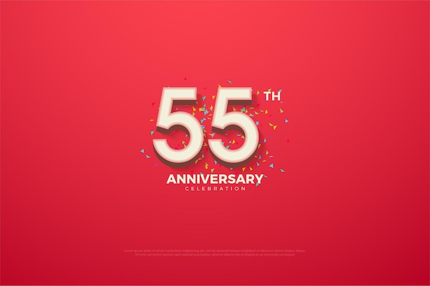 55-летие с красочными цифрами и рисунками