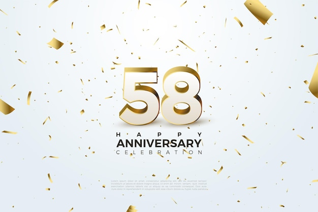 58th anniversary with 3d figure illustration
