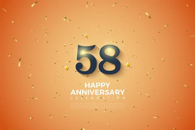 부드러운 음영 숫자가 있는 58주년