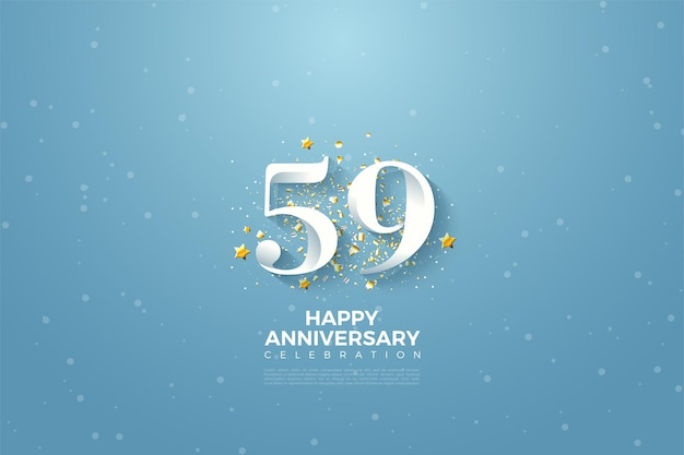 59-я годовщина с числами на фоне голубого неба