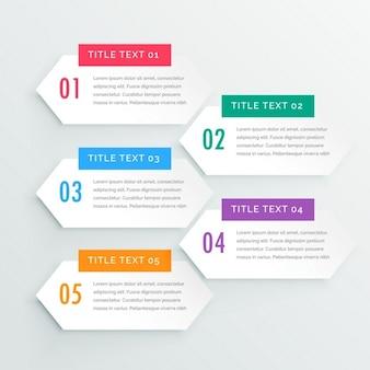 きれいな白いインフォグラフィックの5つのステップのプレゼンテーションテンプレート