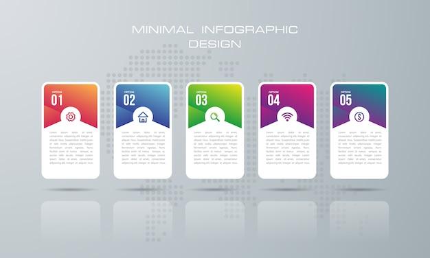 5オプションのインフォグラフィックテンプレート、インフォグラフィックデザインのベクトルは、ワークフローのレイアウトに使用できます - ベクトル