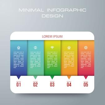 5つのオプション、ワークフロー、プロセスチャート、タイムラインインフォグラフィックデザインベクトルを持つインフォグラフィックテンプレートは、ワークフローのレイアウト、図、手順、またはプロセスに使用できます。
