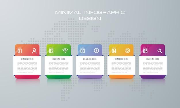 5つのオプション、ワークフロー、プロセスチャート、タイムラインのインフォグラフィックデザインを持つインフォグラフィックテンプレート