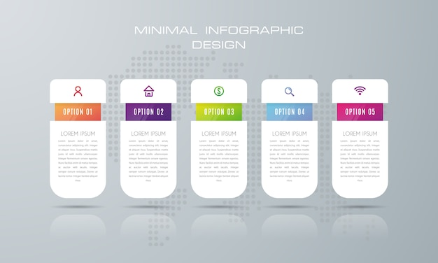 Инфографики шаблон с 5 вариантами, рабочий процесс, диаграмма процесса