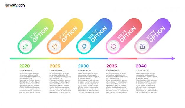 モダンな要素を持つインフォグラフィックビジネスタイムライン5ステップオプション