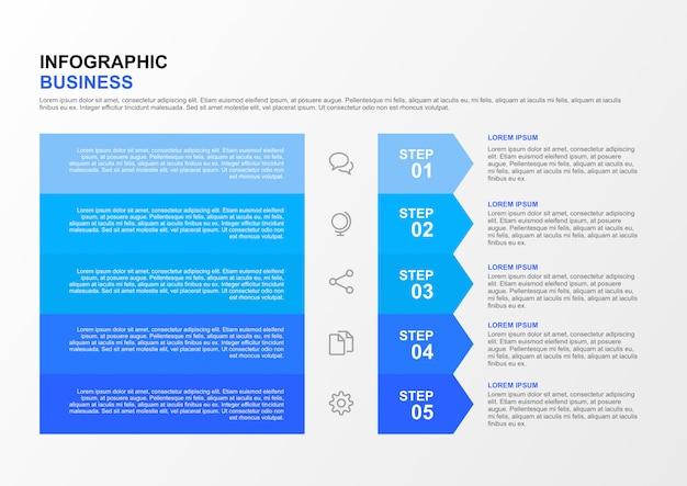 5ステップインフォグラフィックビジネスタイムラインテンプレート