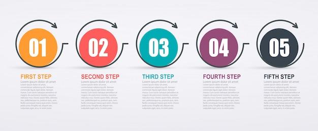 5ステップ構造と矢印のインフォグラフィックデザインテンプレート。ビジネス成功の概念、円グラフの線。