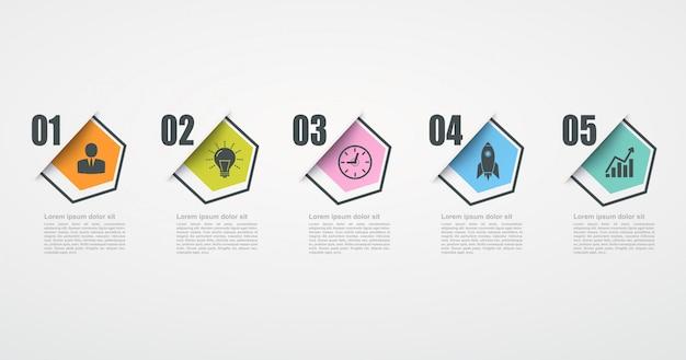 5ステップ構造を持つインフォグラフィックデザインテンプレート。ビジネス成功の概念、六角形のグラフ線。