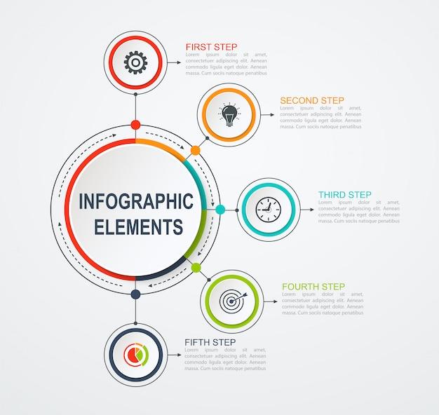 5つのオプションを持つプレゼンテーションビジネスインフォグラフィックテンプレート。統合されたサークルとビジネスコンセプト。