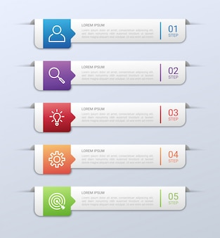 Визуализация бизнес-данных, инфографики шаблон с 5 шагов на сером фоне, иллюстрация