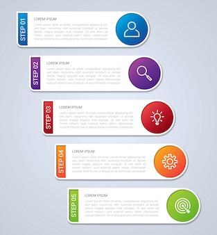 ビジネスデータの可視化、灰色の背景、イラストに5つのステップを持つインフォグラフィックテンプレート
