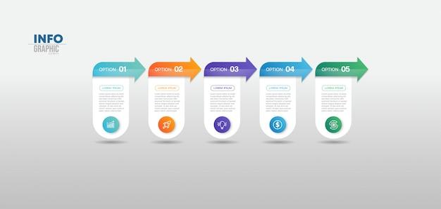 Инфографики элемент с иконками и 5 вариантов или шагов. может использоваться для процесса, презентации, диаграммы, макета рабочего процесса, информационного графика, веб-дизайна.
