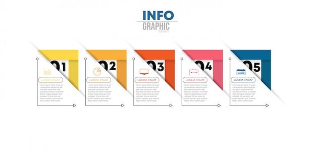 Инфографики элемент с иконками и 5 вариантов или шагов. может использоваться для процесса, презентации, диаграммы, схемы рабочего процесса, информационного графика