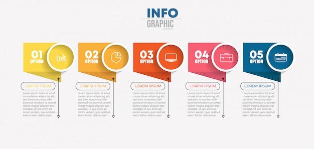 アイコンと5つのオプションまたは手順を持つインフォグラフィック要素。