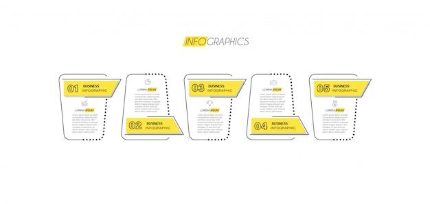 アイコンと5つのオプションまたは手順のインフォグラフィック要素。