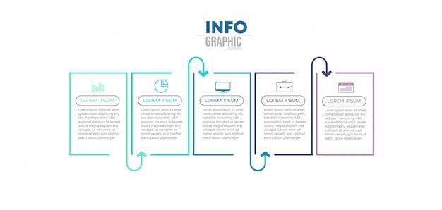 アイコンと5つのオプションまたは手順を持つインフォグラフィック要素