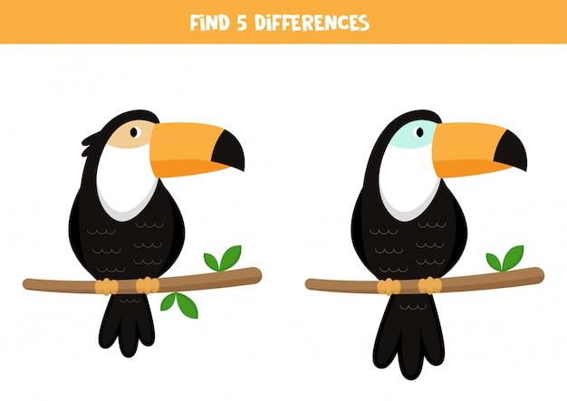 Найдите 5 отличий. симпатичные мультяшные туканы. игра для детей.