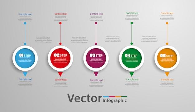 カラフルなサークルと5つのステップのインフォグラフィック