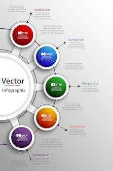 5つのステップで抽象的なベクトルインフォグラフィック番号オプションテンプレート