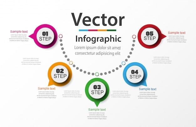 5つのステップを持つインフォグラフィック番号オプションテンプレート