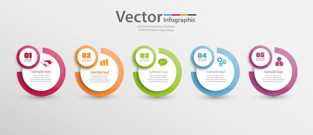 5つのステップ、オプションまたはプロセスのインフォグラフィックテンプレート