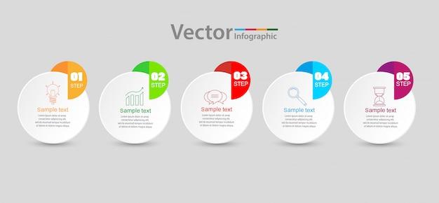 5つのステップ、オプション、ワークフロー、プロセスチャートを含むインフォグラフィックテンプレート