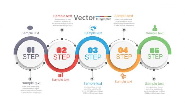 5つのステップを持つインフォグラフィックデザイン