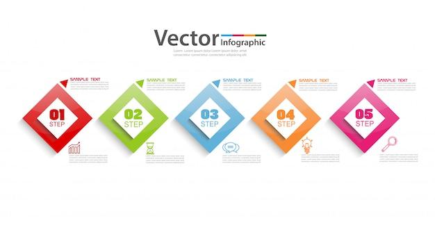 カラフルな正方形と5つのステップのビジネスインフォグラフィック