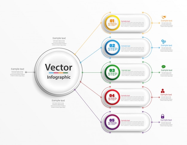 Инфографический шаблон дизайна с вариантами и 5 шагами.