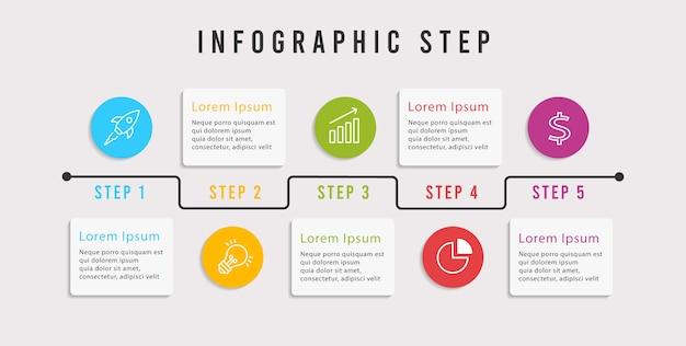 モダンなインフォグラフィックの5つのステップ