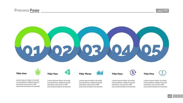 説明スライドテンプレートを含む5つの円のフローチャート。ビジネスデータ。グラフ、図