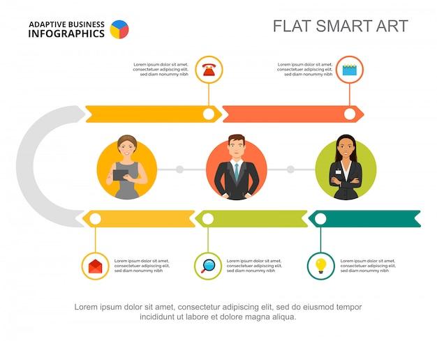 プレゼンテーションのための5つのステップのワークフロープロセスチャートテンプレート