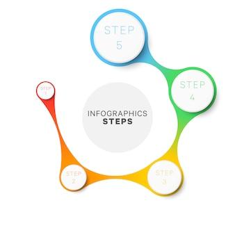シンプルな5つのステップのレイアウトインフォグラフィックテンプレート。パンフレット、バナー、年次報告書のプロセス図