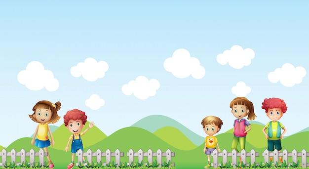 農場の子供5人