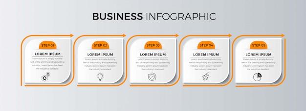 ビジネスインフォグラフィックテンプレート。番号5のオプションまたはステップを備えた細い線のデザイン。