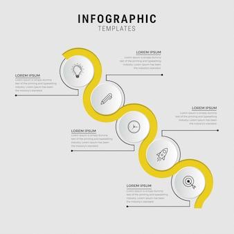 Шаблон бизнес инфографики. тонкая линия дизайна с номерами 5 вариантов или шагов.